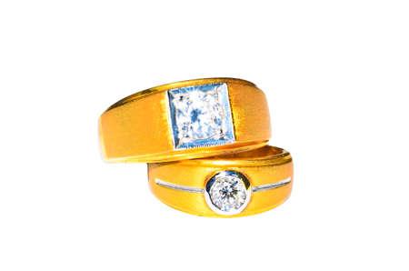 Wedding rings isolated on white photo