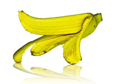 banana peel on white background photo