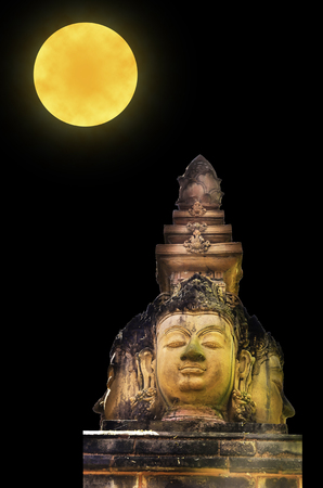 Buddha head on full moon light