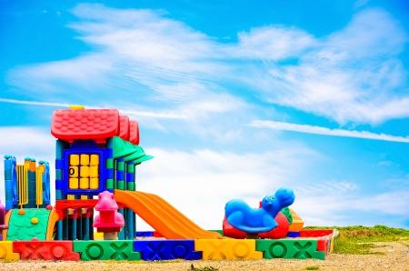 Children playground on blue sky Stock Photo