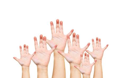 Hand raise up on white background