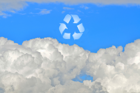 Recycle sign in the sky created from clouds photo