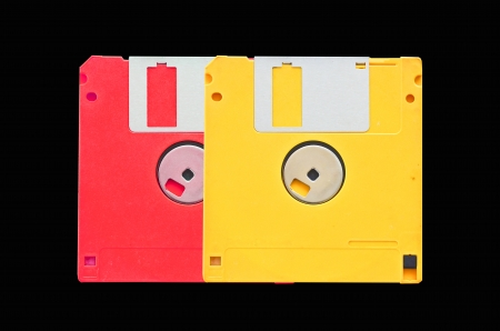 old obsolete colored floppy disks photo