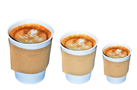 Coffee takeaway cups in three size on white background photo