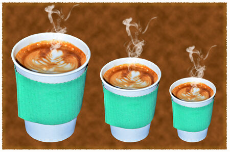 Coffee takeaway cups in three size on brown background photo