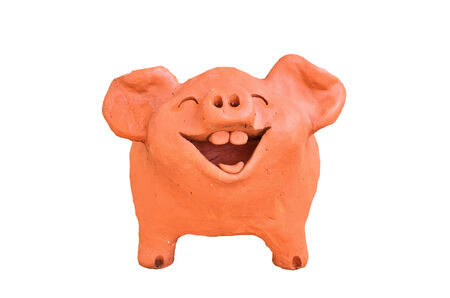 Laughing pig statue on white background
