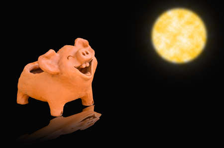 Laughing pig statue on full moon light photo