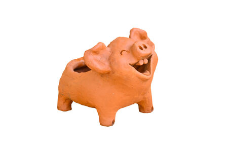 curly tail: Laughing pig statue Stock Photo