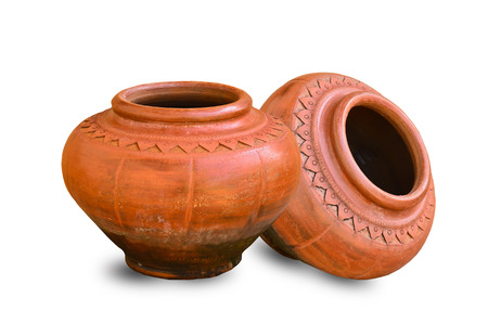 Two Clay pot on white background photo