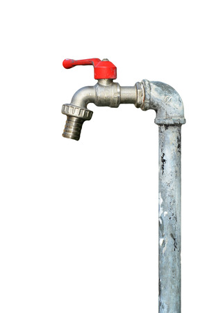 faucet with red handles on white background
