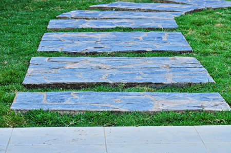 Walkway on green grass