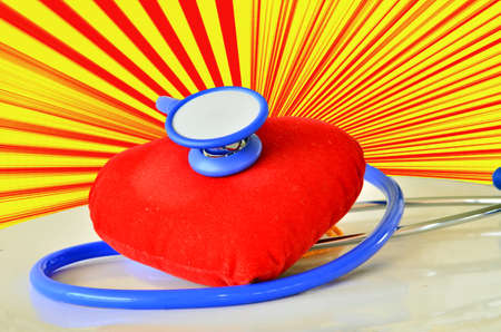 Red heart and stethoscope photo