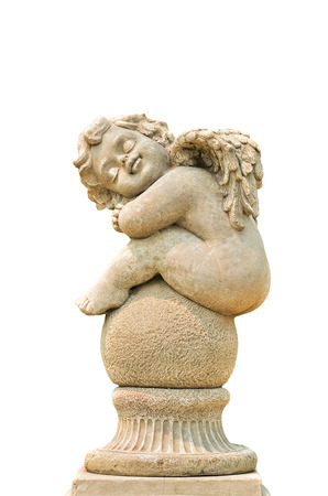 Little Sleeping Angel isolated on white  Stock Photo