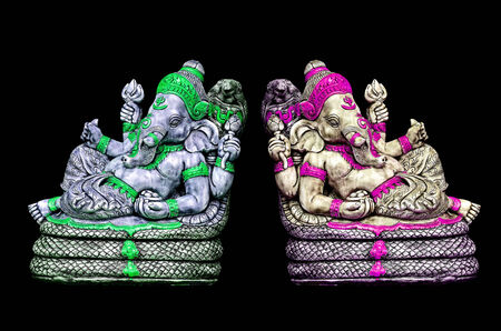 ganapati: The sculpture of Indian god Lord Ganesh on bkack