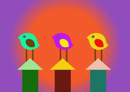 tweeting: Abstract Birds Illustration