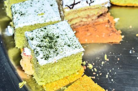 pice of green tea cake photo