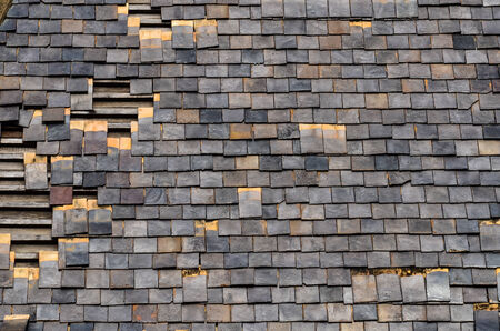 rooftiles: Detail of Old Slate Roof Tiles Stock Photo