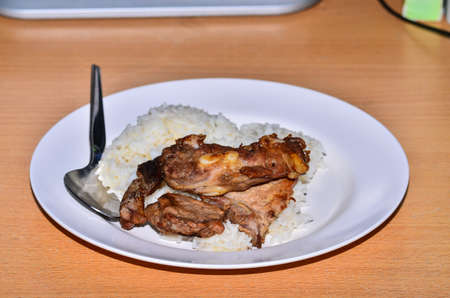 Grilled pork with rice photo