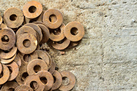 old rusty washers Stock Photo