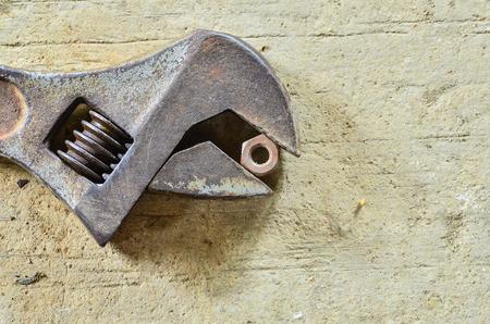 monkey nut: Old monkey wrench and bolt nut Stock Photo