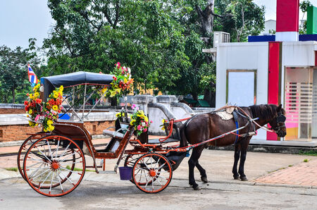 cartage: horse carriage in temple Phrathat Lampang Luang in Lampang, Thailand