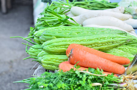 Fresh vegetables in the market; carrots photo