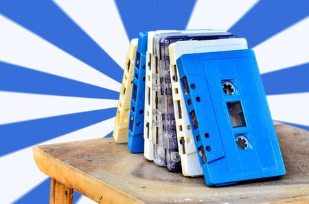 analog: Tape Cassette analog audio on white blue background Stock Photo
