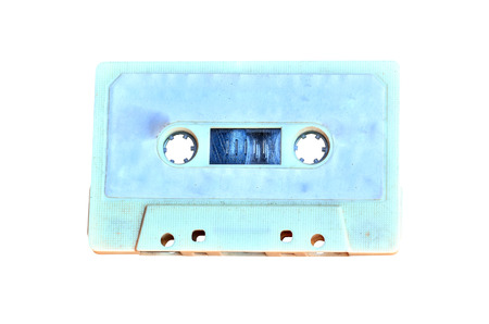disuse: Old Cassette tape isolated on white background Stock Photo