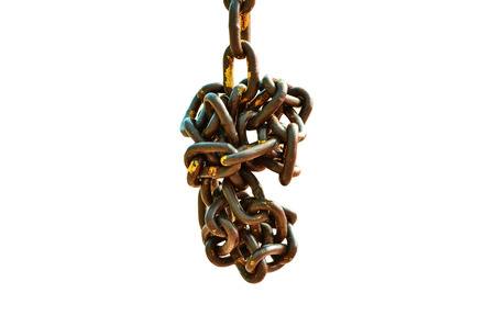 secrete: Old chain on white background Stock Photo