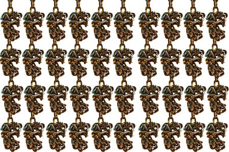 secrete: Many Old chain on  white background Stock Photo