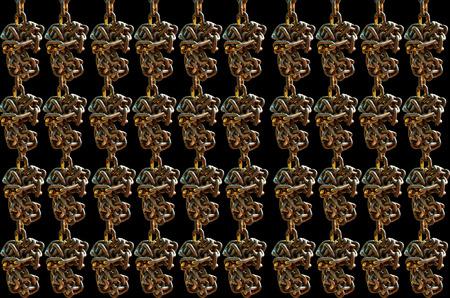 secrete: Many Old chain on  black background Stock Photo