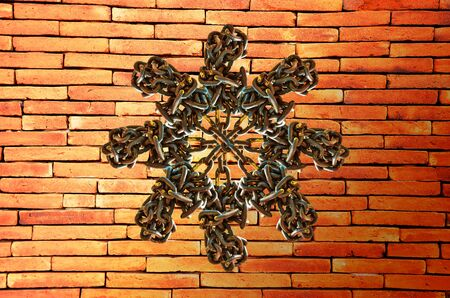 secrete: Many Old chain on brick wall background