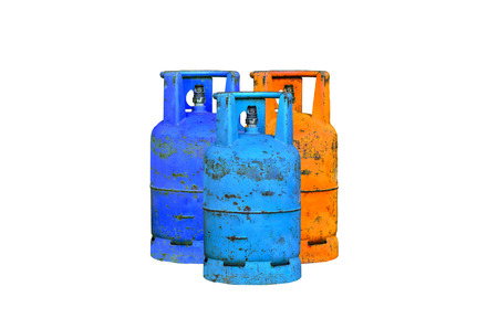 combustible: Many gas cylinder on white background Stock Photo