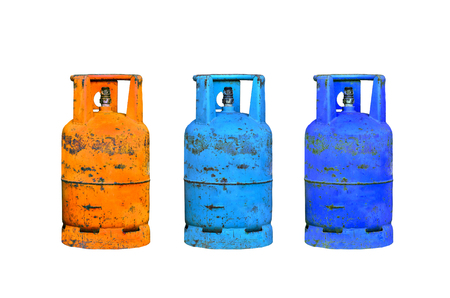 petrol bomb: gas cylinder on white background