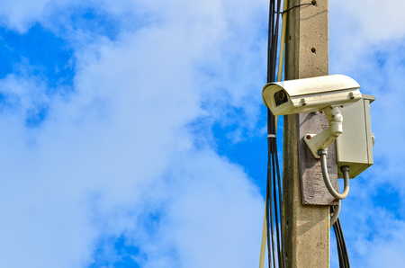 closed circuit: closed circuit camera on blue sky  background