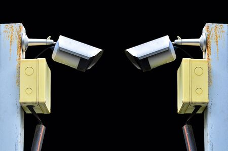 closed circuit television: Two surveillance camera on black background