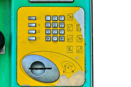 payphone: Buttons street payphone on white background Stock Photo