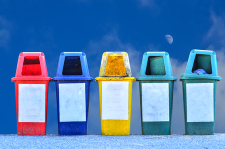trashcan: trashcan on the park in blue sky background