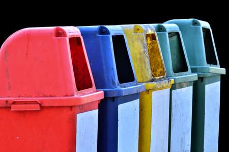 trashcan: close up trashcan on the park on black background