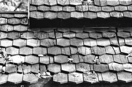 cedar shakes: Wood roofing pattern detail in black and white Stock Photo