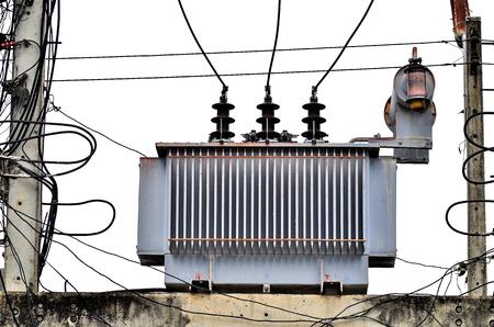 power transformer: High voltage power transformer on white background