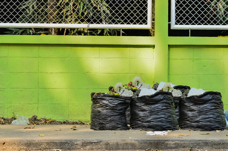 disposed: Many garbage and waiste in black bags