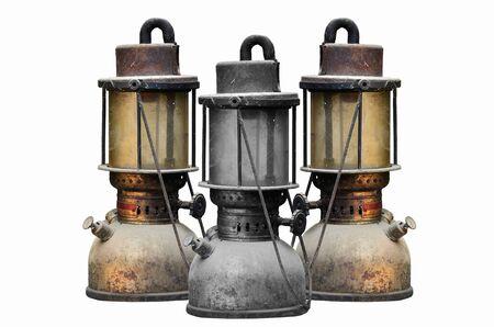 hurricane lamp: Group old hurricane lamp on white background Stock Photo
