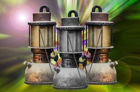hurricane lamp: Group old hurricane lamp on light digital background