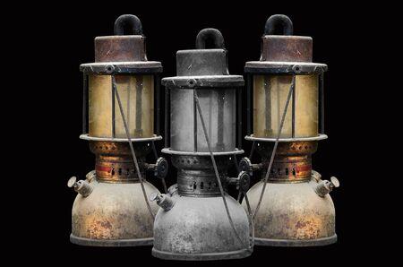 hurricane lamp: Group old hurricane lamp on black background Stock Photo