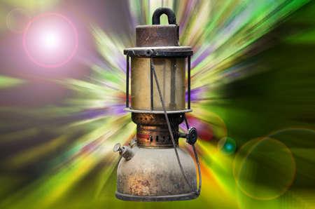 gas lamp: old hurricane lamp on light digital background Stock Photo