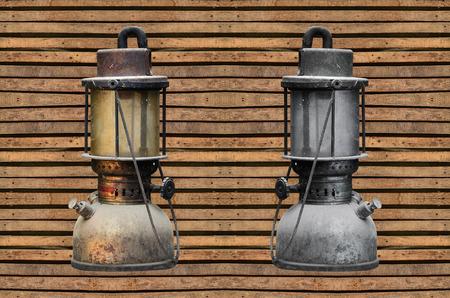hurricane lamp: old hurricane lamp on wooden background