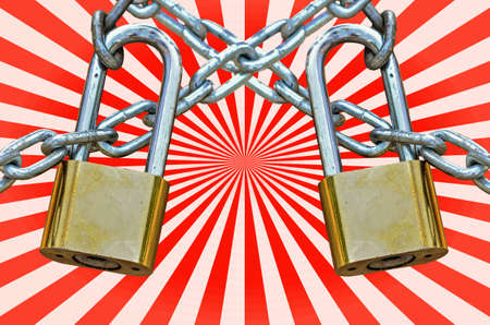 lock and key: Two Key lock locked with chain on red beam background