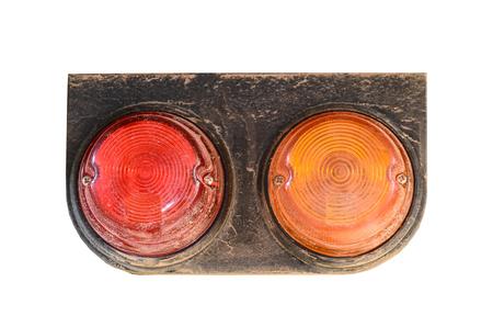 reversing: Tail lights of truck  on white background