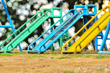 Many slide playground on green nature background